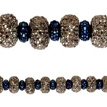Bead Gallery Acrylic Rondelle Beads, Silver & Sapphire, 10mm, Close Up