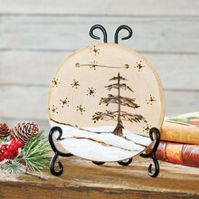 Snowy Tree Scene Woodburned Round Wall Plaque