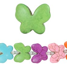 Bead Gallery Reconstituted Stone Butterfly Beads, Multi, Close Up