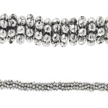 Bead Gallery Silver Plated Small Dot Rondelle Beads, Close Up