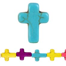 Bead Gallery Reconstituted Stone Cross Beads, Multi, Close Up