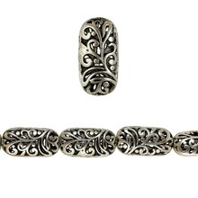 Bead Gallery Silver Plated Vine Pattern Beads, Close Up