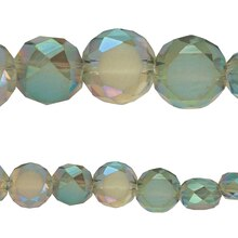 Bead Gallery Faceted Glass Matte Green Beads, Close Up