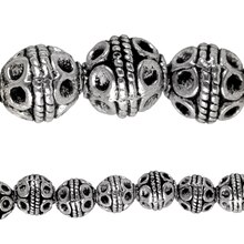 Bead Gallery Silver Plated Carved Round Beads, 8mm, Close Up