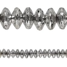 Bead Gallery Silver Plated Small Rib Rondelle Beads, Close Up
