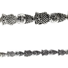 Bead Gallery Silver Plated Owl Beads, Close Up