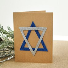 Glitter Star of David Card