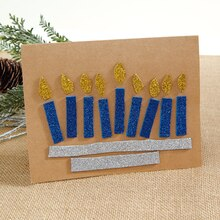Small Glitter Menorah Card