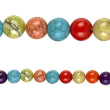 Bead Gallery Multi-Colored Howlite Beads, Close Up