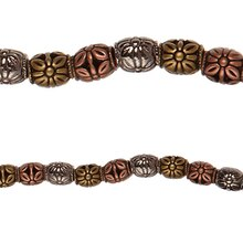 Metal-Plated Antique Barrel Beads, Multi-Colored, Close Up