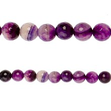 Bead Gallery Agate Faceted Round Beads, Amethyst, Close Up
