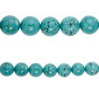 Bead Gallery Turquoise Dyed Round Beads, Close Up