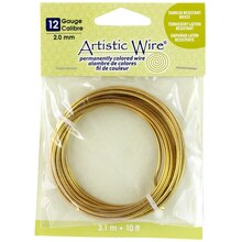 Artistic Wire Permanently Colored Wire, Brass, 10ft., 12 Gauge