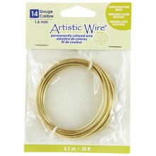 Artistic Wire Permanently Colored Wire, Brass, 10ft., 14 Gauge