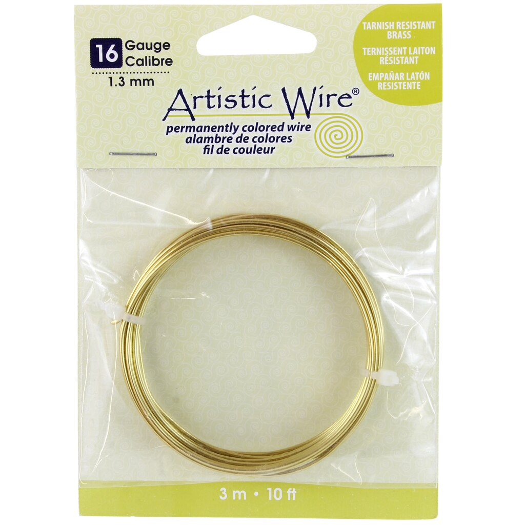 Artistic Wire® Permanently Colored Wire, Brass, 10ft., 16 Gauge