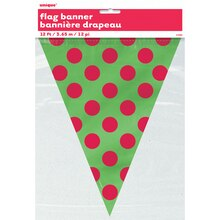 Red & Green Polka Dots Holiday Flag Banner, Package