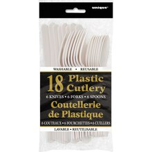Assorted Plastic Cutlery Set for 6, White, Package