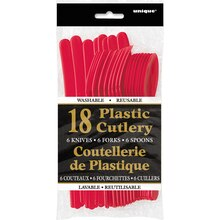 Assorted Plastic Cutlery Set for 6, Red, Packaging