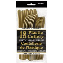 Assorted Plastic Cutlery Set for 6, Gold, Package