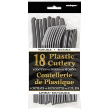 Assorted Plastic Cutlery Set for 6, Silver, Package
