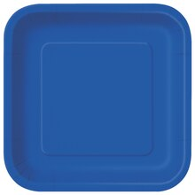 "9"" Royal Blue Square Dinner Plates, 14ct"