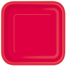"9"" Red Square Dinner Plates, 14ct"