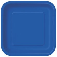 "7"" Royal Blue Square Dessert Plates, 16ct"
