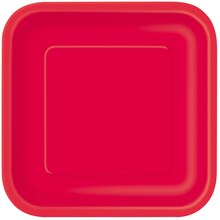 "7"" Red Square Dessert Plates, 16ct"