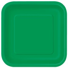 "9"" Emerald Green Square Dinner Plates, 14ct"