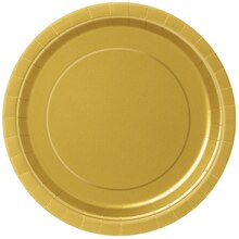"9"" Gold Dinner Plates, 8ct"