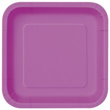 "9"" Square Purple Dinner Plates, 14ct"