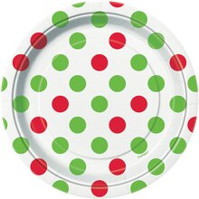 "7"" Red & Green Polka Dots Holiday Dessert Plates, 8ct"