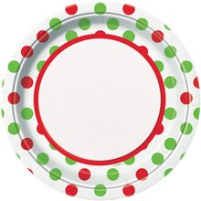"9"" Red & Green Polka Dots Holiday Dinner Plates, 8ct"