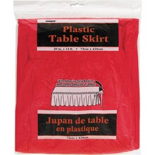 Plastic Red Table Skirt, 14 ft., Package