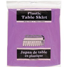 Plastic Purple Table Skirt, 14 ft., Package
