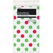 "Plastic Red & Green Polka Dots Holiday Table Cover, 108"" x 54"""