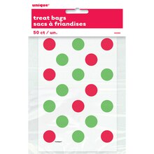 Red & Green Polka Dots Holiday Favor Bags, 50ct
