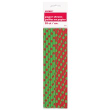 Red & Green Polka Dots Holiday Paper Straws, 10ct