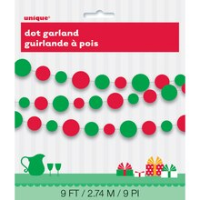 Red & Green Polka Dots Holiday Paper Garland
