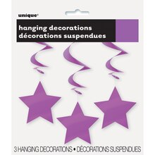 "26"" Hanging Purple Star Decorations, 3ct, Packaging"