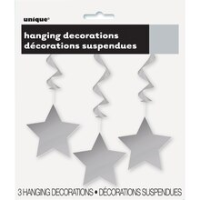 Hanging Silver Star Decorations, 3ct, Package