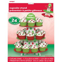 Red & Green Polka Dots Holiday Cupcake Stand, Package