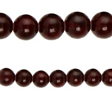 Bead Gallery Jade Round Beads, Red, Close Up