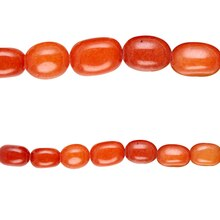 Bead Gallery Jade Nugget Beads, Orange, Close Up