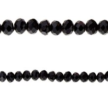 Bead Gallery Faceted Glass Rondelle Beads, Black, Close Up