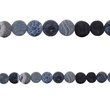 Bead Gallery Crackled Agate Round Beads, Black, Close Up