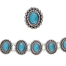 Bead Gallery Turquoise Dyed Howlite & Beaded-Metal Oval Slider Beads, Close Up