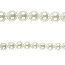 Bead Gallery Pearl Round Beads, White, Close Up