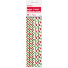 Red & Green Striped Holiday Paper Straws, 10ct