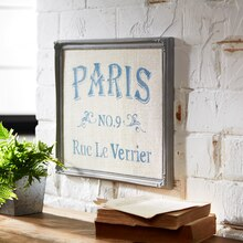 Framed Paris Stenciled Burlap